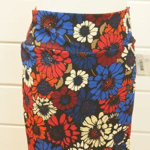 NWT Lularoe Cassie Blue Red Daisy Flowers Retro XL